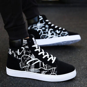 Fashion-Mens-Oxfords-Casual-High-Top-Shoes-Lace-Up-Canvas-Skateboard-Sneakers