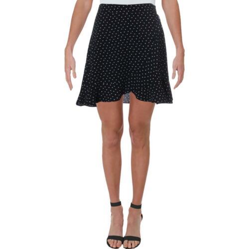 Aqua Womens Polka Dot Ruffled Mini A-Line Skirt BHFO 5683