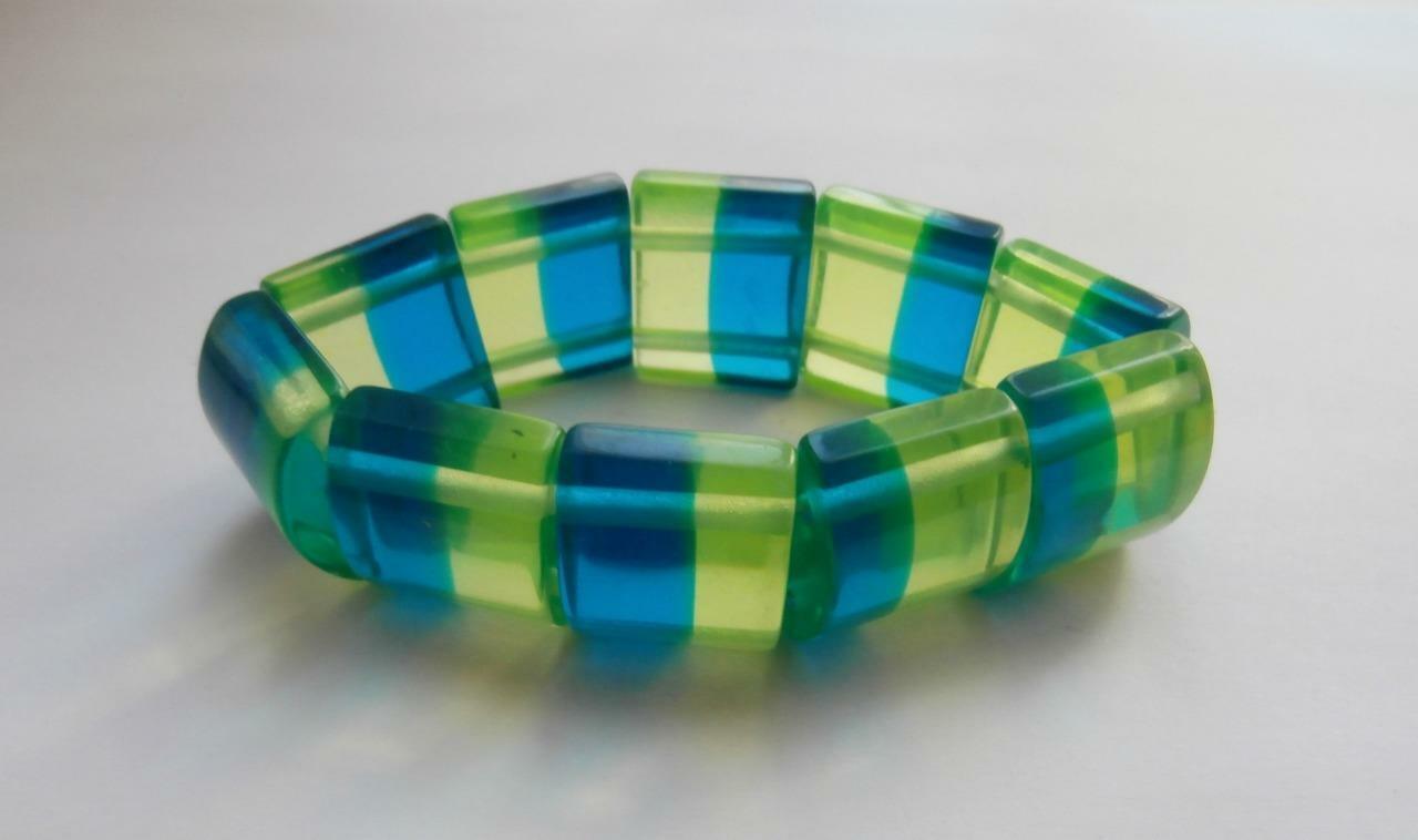 BN Vintage 1960's Yellow & Blue Plastic Elasticated Bracelet Bangle Deadstock