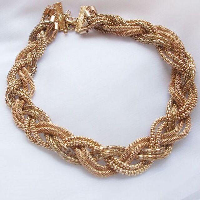 Fashion Twist Braided Gold Plated Statement Bib Choker Short Necklace Pendant