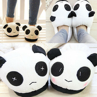 Women Men Anti-slip Carton Panda Shoes Soft Plush Antiskid Slippers Indoor Home