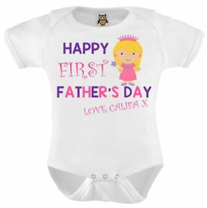 HAPPY 1ST FATHERS DAY DADDY Baby Bodysuit//Grow//Vest//Romper PERSONALISED Gift