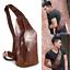 Mens-Genuine-Leather-Chest-Back-Pack-Shoulder-Messenger-Sling-Bag-Crossbody thumbnail 1