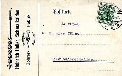 Karte Deutsches Reich 1915 Heinrich Heller Schmalkalden Bohrer Fa Nr 85 Ka038 QualitäT Zuerst Briefmarken