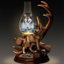 THE SPIRIT WOLF LIGHTED HURRICANE TABLETOP FIGURINE HOME DECOR NEW