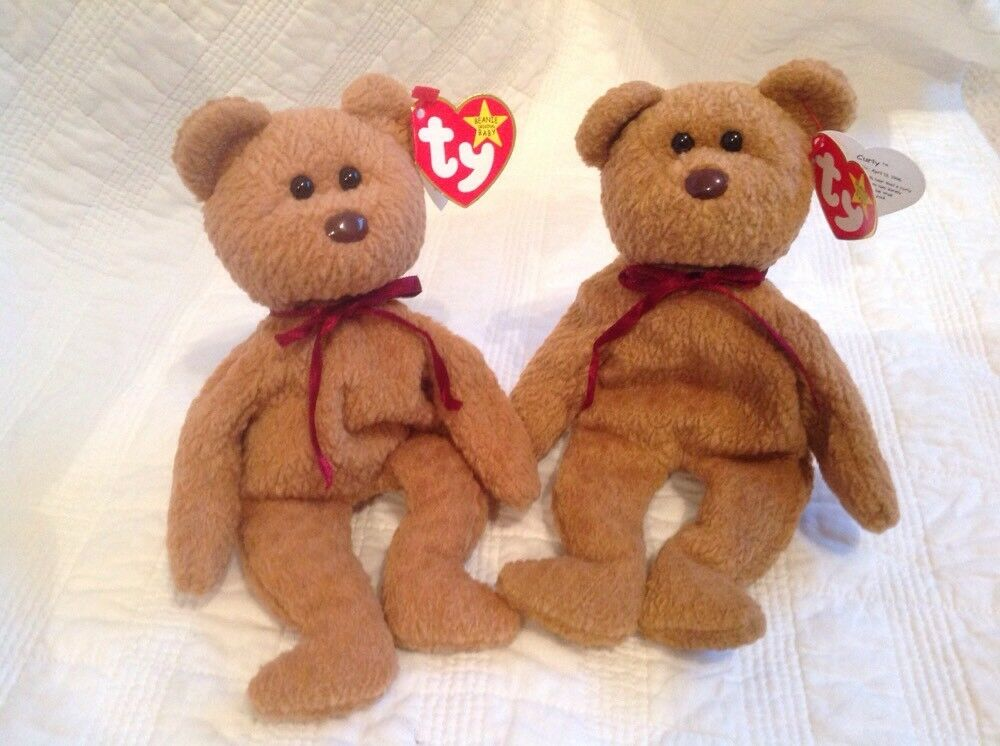 Twin Ty Baby Curly Bears  Rare Error Tags  Retired Collectables Original