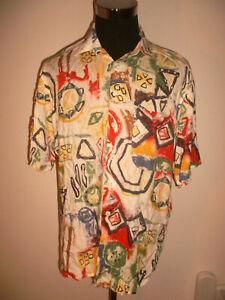 vintage-CLUB-D-AMINGO-90-s-Hemd-Viskose-crazy-pattern-shirt-oldschool-M-L