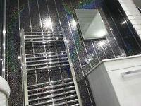 22 Black Sparkle V Groove Chrome Metallic Strip Bathroom Shower Wall Pvc Panels