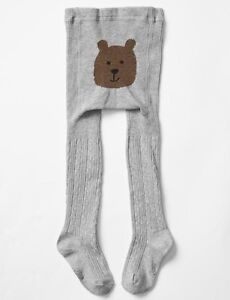 Toddler Girl 4-5 Years Baby Gap Off White Bear Bottom Cable Knit Winter Tights