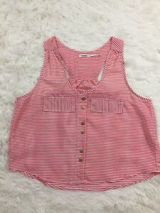 f8559898396e9e Image is loading Poetry-Red-White-Striped-Crop-Top-Sleeveless-Tank-