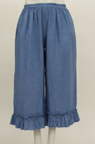 MADE IN ITALY WOMEN/'S LINEN CROPPED WIDE LEG BLOOMERS PANT RUFFLED HEM AQUA BLUE