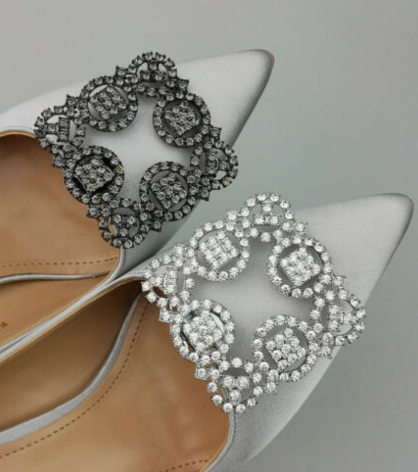 2 Pcs Vintage Black Silver Rhinestone Crystal Wedding Shoe Clips Charms