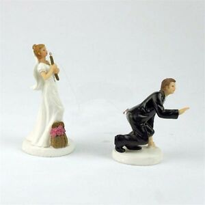 Bride and Groom Funny Wedding Cake Topper Fishing Wondearful Figurine Decoration