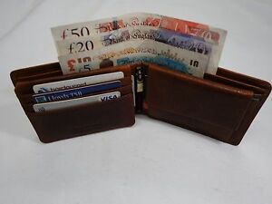 Man-s-Full-Grain-Veg-Tan-Leather-Wallet-Top-Brand-RFID-Protected-in-Gift-Box