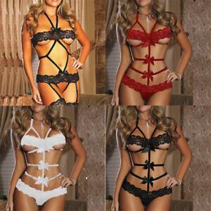 eede03ba88 1 Set Women Sexy Lingerie Babydoll Lace Bow Dress Nightwear G-string ...