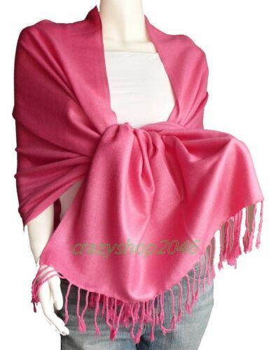 Elegant Pashmina Cashmere Scarf WoolShawl//Wrap//Hot Pink