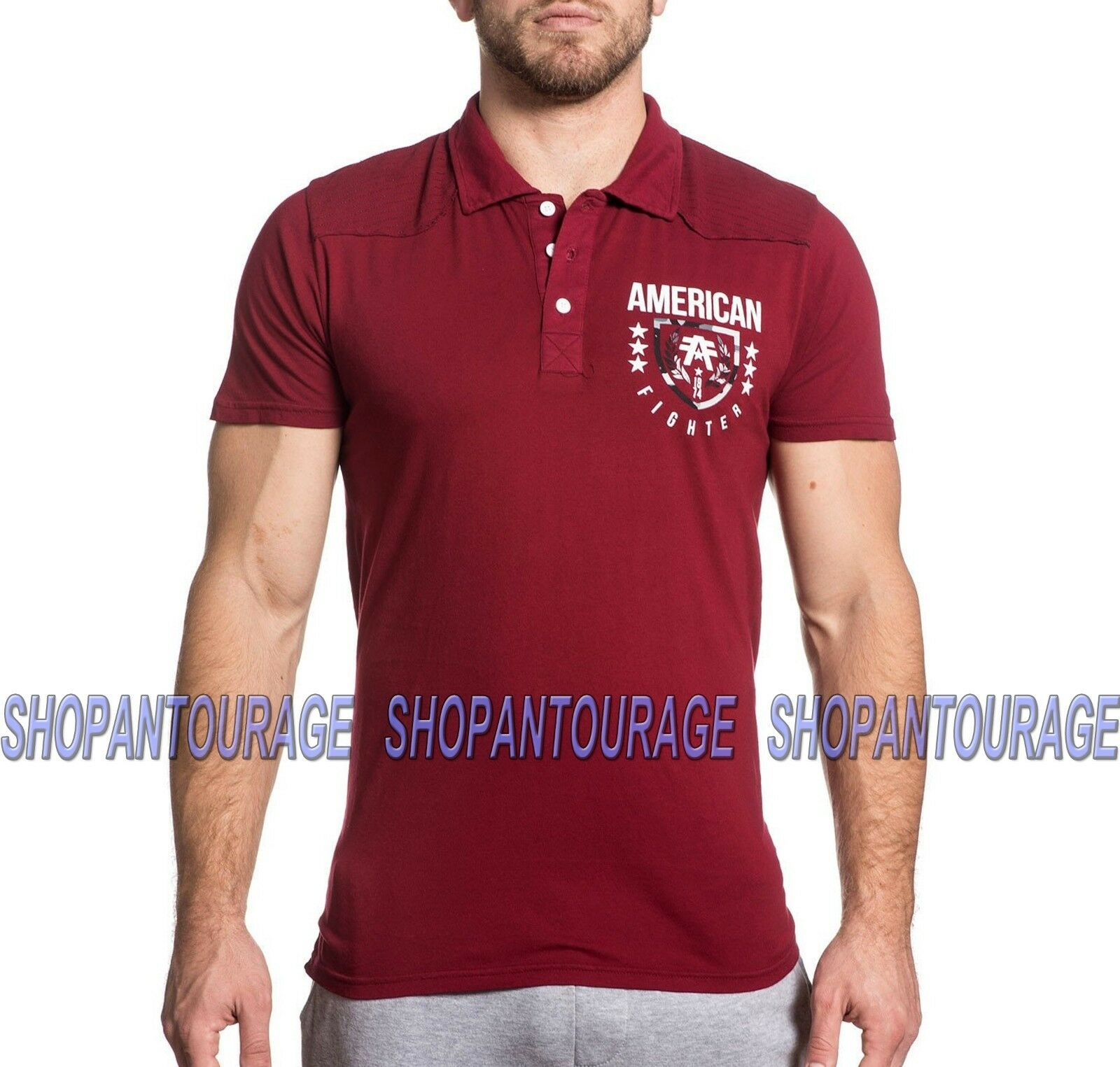43093d0b9d946 American Fighter FM4642 Graphic Fashion Red Polo Top By Affliction Men`s  Lander nalokc2897-T-Shirts
