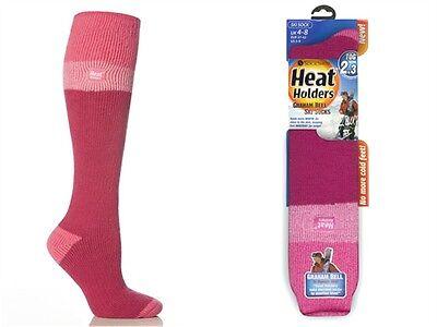 1 Pair Ladies GENUINE Thermal Heat Holders Ski Socks Raspberry  Pink Light Pink
