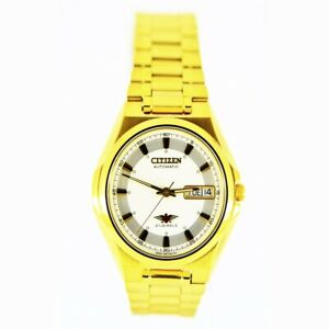 Citizen-Classic-Automatic-Men-039-s-Gold-Stainless-Strap-Watch-NH3732-50B