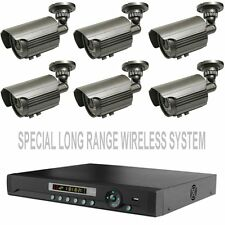 SIX LONG RANGE TRANSMISSION WIRELESS NIGHTVISION CAMERAS 8 CH: STAND ALONE DVR