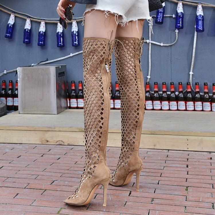 femmes High Heels Stilettos Cut Out High Knee Cut Out Peep Toe Laca Up bottes New