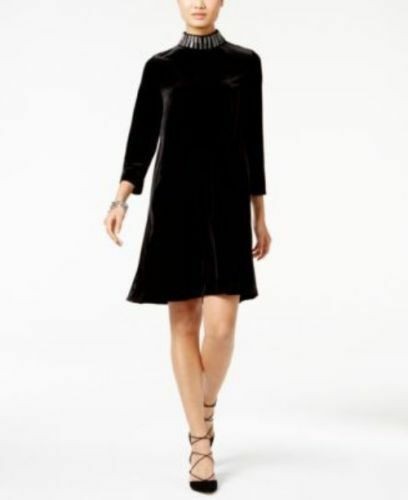 ALFANI Damen Rose Shimmer Mock-Neck Samt Kleid Gr: S Farbe: Deep Black NEU