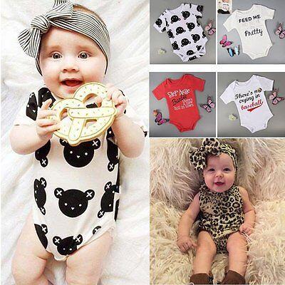 Newborn Kids Baby Boy Girl Infant Cotton Romper Jumpsuit Bodysuit Outfit Clothes