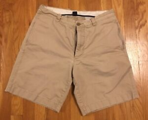 Men-039-s-J-Crew-Beige-Khaki-Flat-Front-Shorts-32-9-034-Broken-In-Chino-Classic-Regular