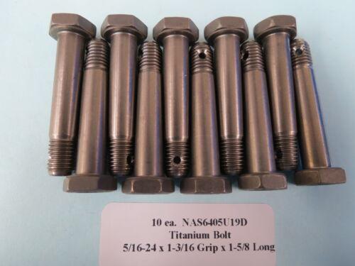 "Hex Head Bolts Aircraft Aerospace NAS6405U19D 5//16""-24 x 1-5//8"" Titanium 10"
