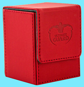 ULTIMATE-GUARD-XENOSKIN-FLIP-DECK-CASE-Standard-Size-RED-100-Game-Card-Box