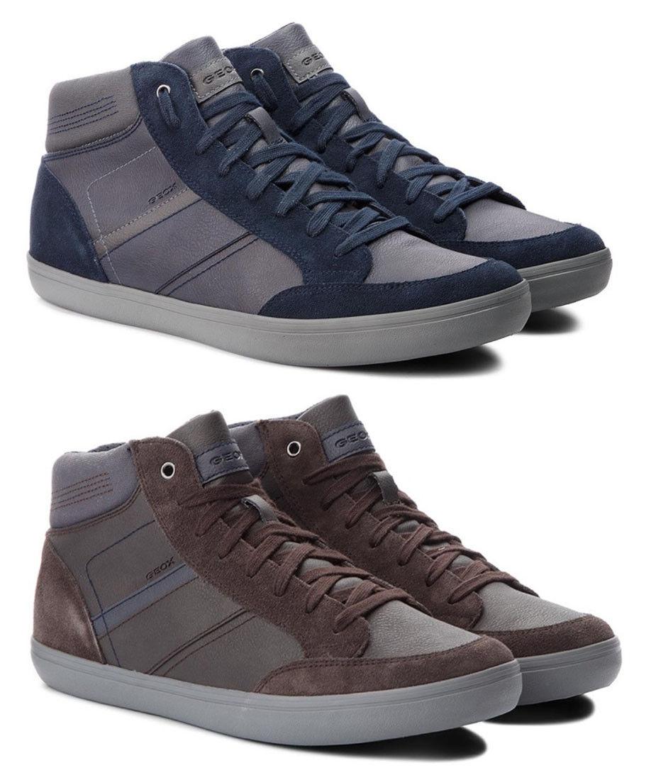 GEOX RESPIRA BOX U84R3E scarpe uomo scarpe da ginnastica alte pelle camoscio stringhe casual