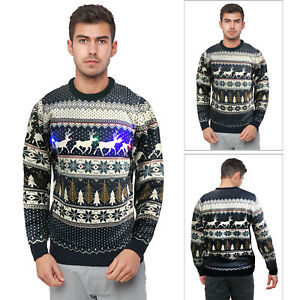 Seasons-Greetings-Mens-Reindeer-Fairisle-With-Lights-Festive-Christmas-Jumper