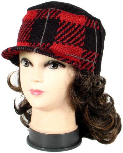 Women Warm Winter Pattern Knit Crochet Braided Baggy Visor Beanie Hat 3 Styles