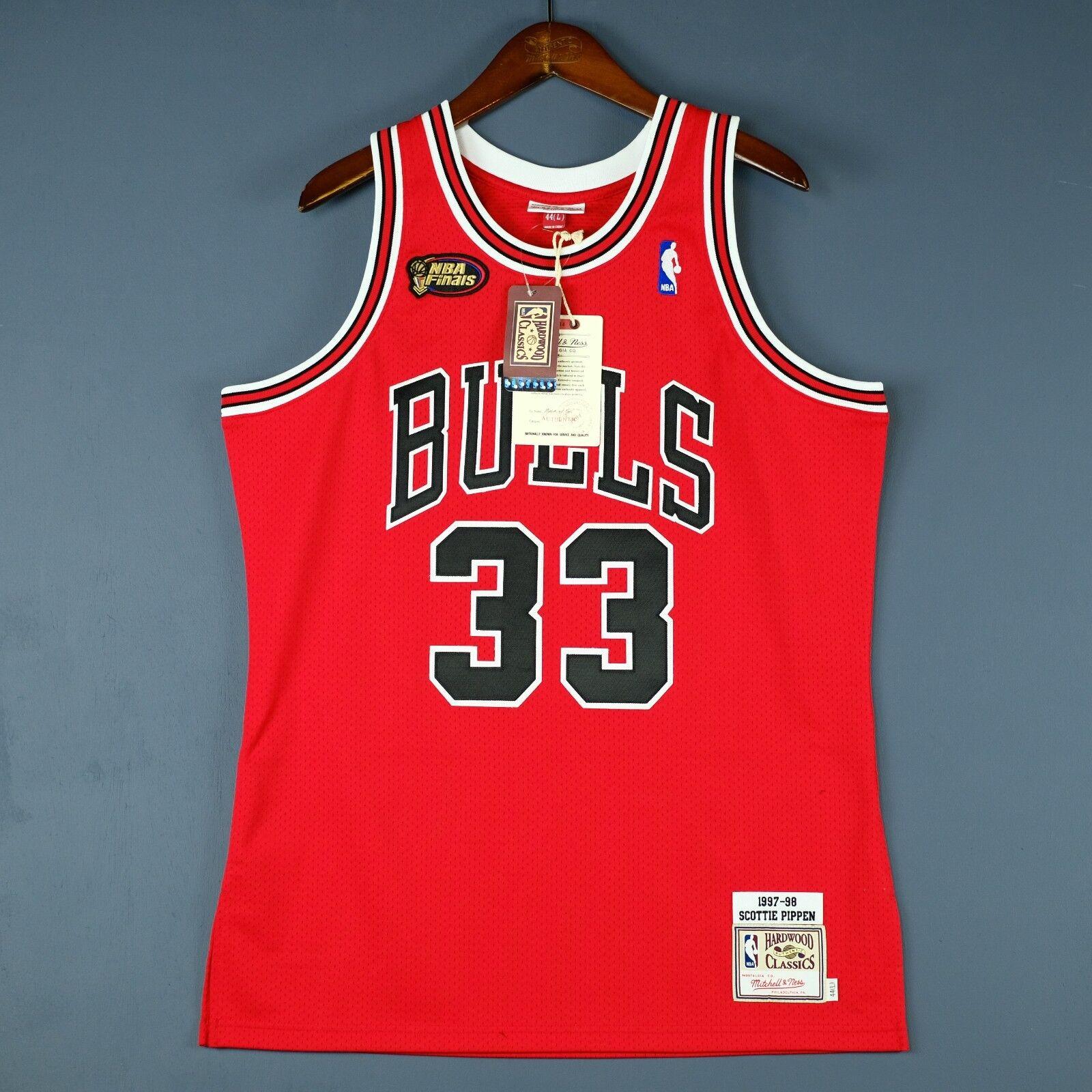 100% 100% 100% Authentisch Scottie Pippen Mitchell Ness Bulls 97 98 Finale Trikot Größe 36 adb9da