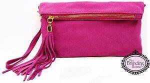 ladies-pink-suede-tassel-clutch-bag