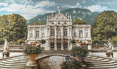 MEDIEVAL DECOR WALL JACQ WOVEN TAPESTRY Linderhof Castle Germany PALACE VIEW