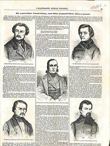 Garnier-Pages-Armand-Marrast-Louis-Blanc-amp-Ferdinand-Flocon-Paris-GRAVURE-1848