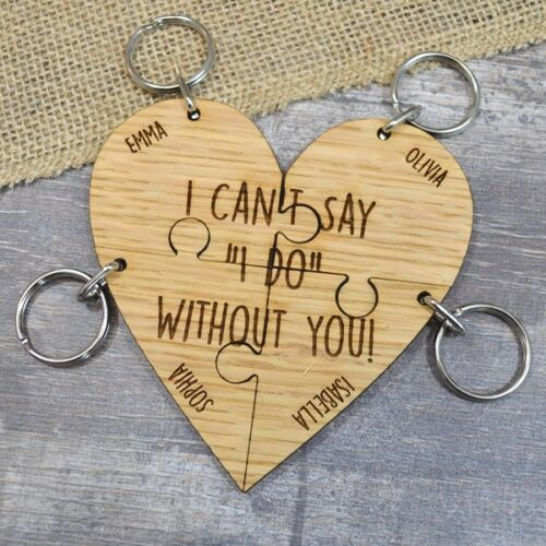 Bridesmaid Gift Keyring Set Lot I Cant Say I Do Without You Wedding Keepsake