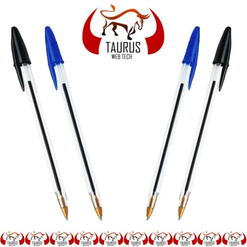 50 Ball Pens Ball Point Biros BLACK BLUE Pen Medium Ballpoint Cheap UK FREE P/&P