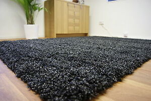 Extra-Large-Thick-5cm-Pile-Shaggy-Black-Charcoal-Grey-Anthracite-Rug-200x290
