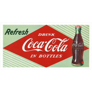 Refresh Drink Coca-Cola In Bottles 1950s Wall Decal 24 x 12 Vintage Style
