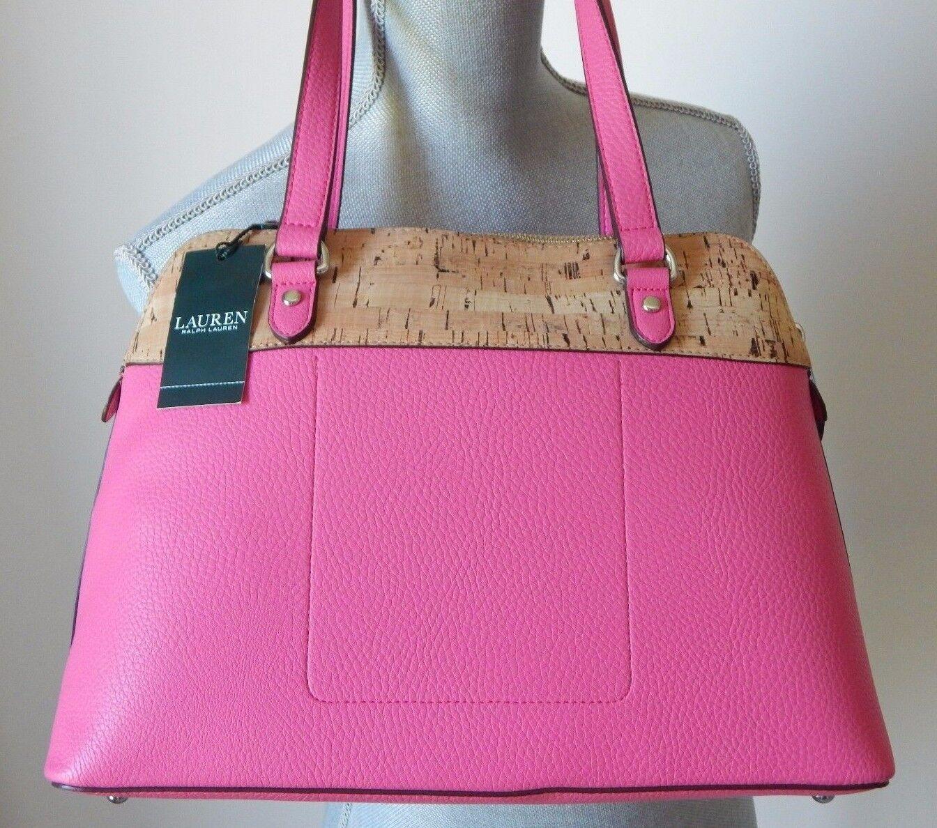 74a5ce5303 Ralph Lauren Hanway Cork Faux Leather Dome Satchel Light Azalea Pink ...