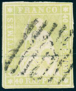 SCHWEIZ-1854-MiNr-17-I-a-sauber-gestempelt-Attest-Hermann-Mi-1100