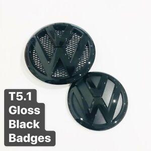 Gloss-Black-Badges-VW-Transporter-T5-1-Front-amp-Rear-UK-Seller
