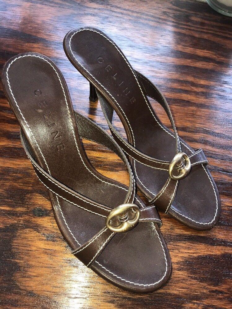 Celine Diapositivas De Cuero Marrón Sandalias Zapatos Mulas W Hebilla Hebilla Hebilla en los pies de oro talla 39 1 2  envío gratis