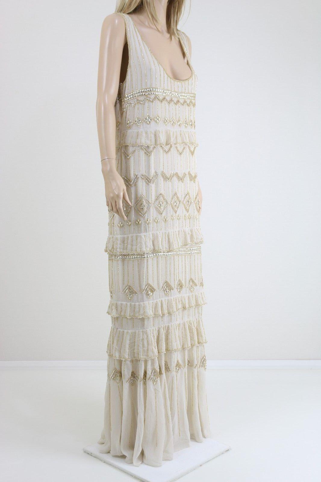 Oleg Cassini Women's Embellished Ivory/Gold Wedding Party Maxi Dress UK 10,18