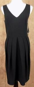KAREN-KANE-NWT-Sz-XL-Black-Sleeveless-Front-Pleats-Lined-Back-Zip-Dress