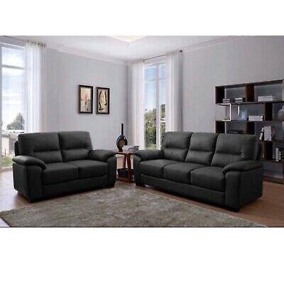 Black Genuine Real Leather Sofa Set