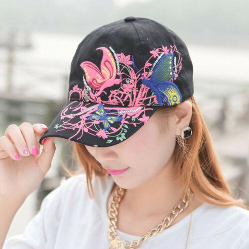 Women Butterflies Flower Embroidery Baseball Cap Girl Sun Hat Casual Snapback