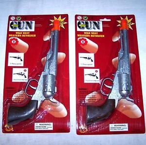 SILVER-WESTERN-DIECAST-PISTOL-metal-8-SHOT-CAP-GUN-cowboy-revolver-prop-toy-new